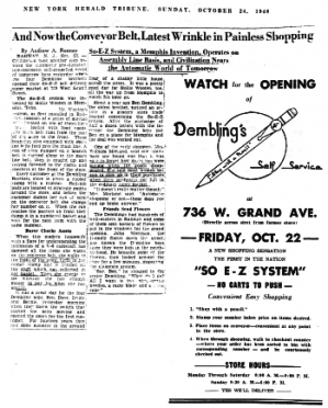 Dembling's Ad & Writeup in New York Herald Oct. 1948 'click on photo to enlarge'
