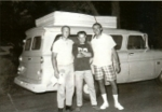 Left to right  Tom Rielly-Marines  Phil Labasi and Al Kohler- Army   Truck borrowed by Tom Rielly with Phil to help Al M