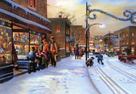 2009 'Rahway Hobby Shop' Original Print Christmas Card by Lloyd Garrison 62