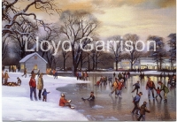 Ice Skater's in Rahway Park 1960's by Lloyd Garrison (Koos Brother's in background)